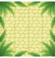 Palm leaves and stone wall vector image