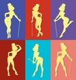 pin up style silhouette of show girl vector image vector image