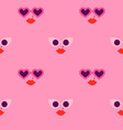 pink heart shape sunglasses woman face pattern vector image vector image