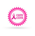 pink ribbon breast cancer awareness icon isolated vector image