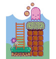 pixelated retro videogame scenery vector image vector image