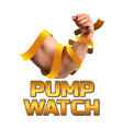 pump watch fitness athletic biceps strong man vector image