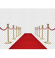 red carpet and golden barriers realistic 3d vector image
