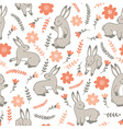seamless pattern with rabbits and flowers vector image