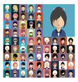 set people icons in flat style with faces 07 a vector image vector image
