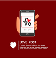 Sharing Love Message on Social Media vector image vector image