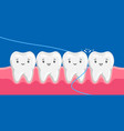 smiling are flossing in oral vector image vector image