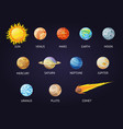 solar system set cartoon planets planets of vector image