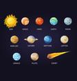 solar system set cartoon planets planets vector image