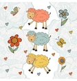 Stunning collection of hand drawn sheeps vector image