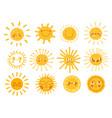 sun characters cartoon sunshine emoji with funny vector image vector image