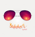 sunglasses with sunset reflection vector image vector image