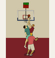 three men play basketball men fight for the ball vector image