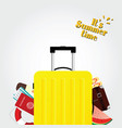 travel bag in yellow color and summer time vector image