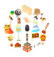 travel to asia icons set cartoon style vector image
