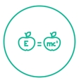 Two apples with formulae line icon vector image vector image