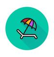 Umbrella recliner icon on round background