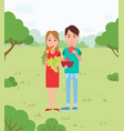 vegans couple in park picnic and vegetable snacks vector image