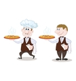 Waiters deliver a hot pizza vector image vector image