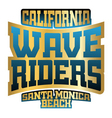 Wave riders typography vector image vector image