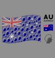 waving australia flag collage blonde profile vector image vector image