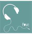 White headphones with cord Blue background vector image vector image