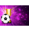 winner congratulations background with golden cup vector image