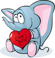 Cute elephant hold red heart - vector image
