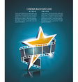 Film strip roll with gold star cinema background vector image
