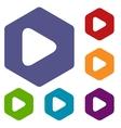 Play rhombus icons vector image