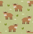 adorable cattle or cow seamless pattern vector image vector image