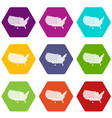 american map icon set color hexahedron vector image vector image
