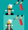 angry businessman and woman with head on fire vector image vector image