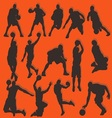 Basketball Silhouette Action Collection Set vector image vector image