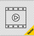 black line play video icon isolated on transparent vector image vector image