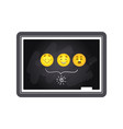 blackboard with three various smiley emoticons and vector image