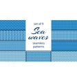 Blue sea waves patterns collection vector image