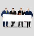 businessmen holding banner group male vector image