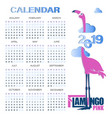 calendar on 2019 with pink flamingo in the clouds vector image