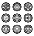 car wheel car parts flat icons vector image