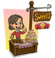 cartoon girl character and wooden candy shop vector image