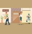 choose robot for new work upset dismissed man vector image