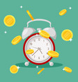 clock with falling coins red retro alarm vector image