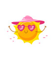 cute sun wearing heart shaped sunglasses and hat vector image