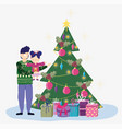 dad carrying little daughter with tree and gifts vector image vector image