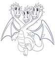 doodle animal character for dragon with three vector image