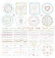 doodle framebrusheswreath decor setpastel vector image vector image
