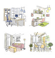 drawn interiors bedroom living room offices in vector image vector image