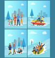 family spending time in city town wintry park set vector image vector image