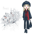 fashion girl in winter clothes in bruges vector image vector image